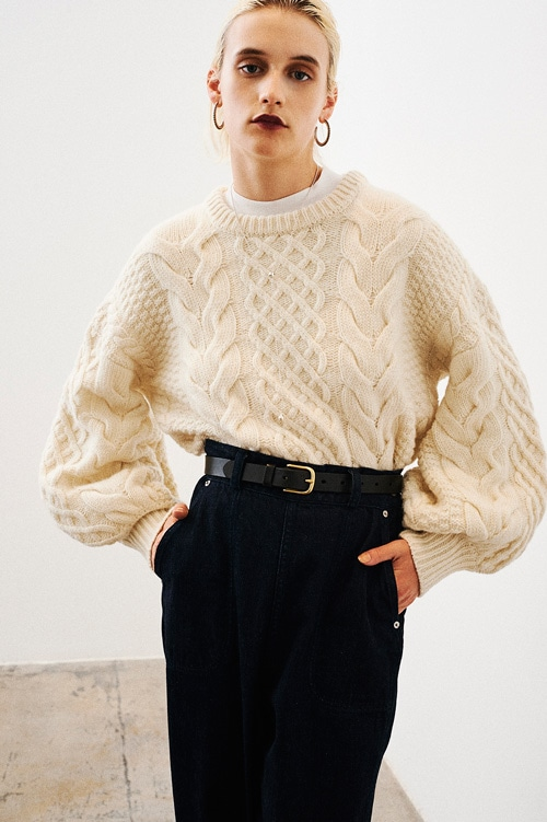 CABLE PUFF KNIT TOPS