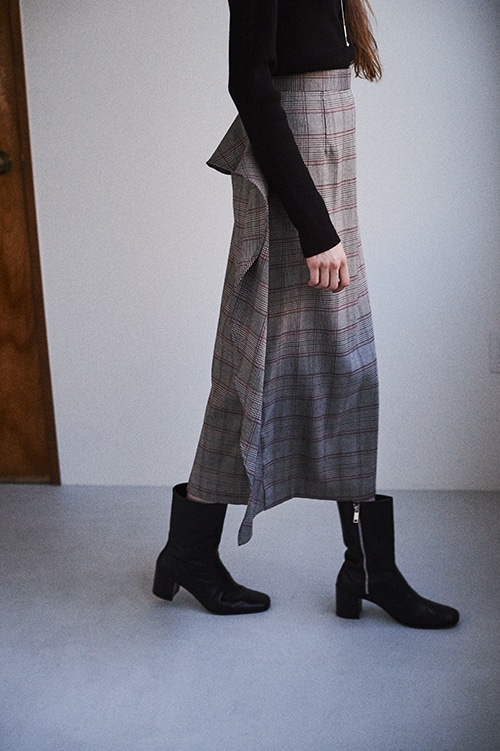 DOUBLE FACE FRILL CHECK SKIRT
