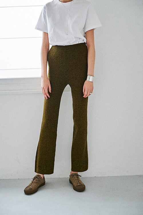 MELANGE KNIT PANTS