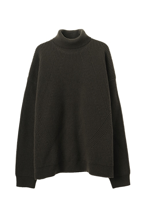 TURTLE NECK RIB KNIT TOPS