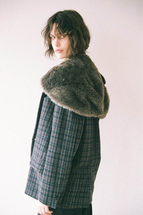 FUR CAPE CHECK TAILORED JACKET