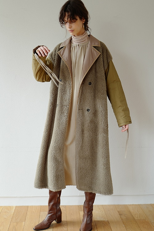 REVERSIBLE MILITARY LONG COAT