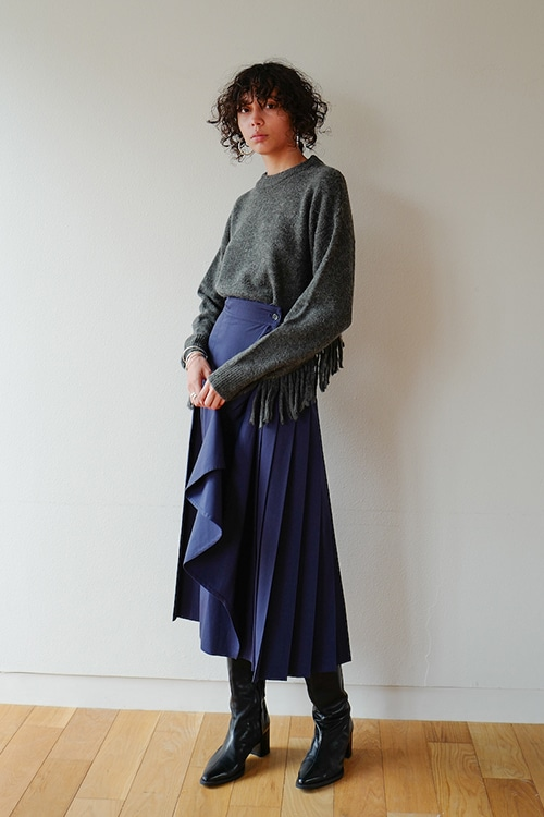 ASSYMETRY FRILL PLEAT WRAP SKIRT