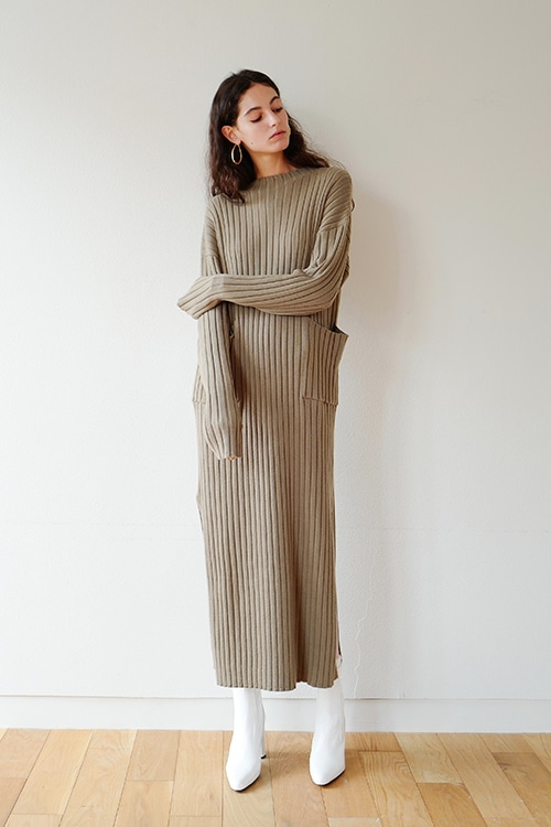 RIB LONG KNIT ONE PIECE