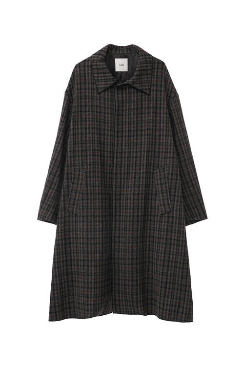 STAND FALL COLLAR CHECK COAT