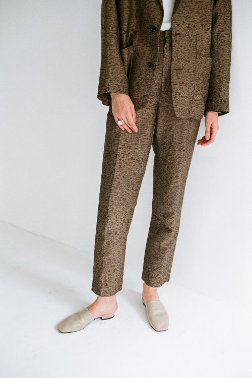 LAYER TWEED H/W PANTS