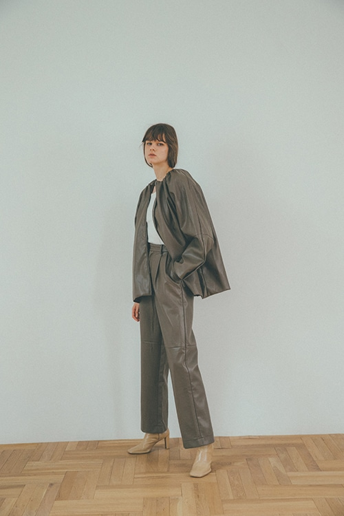 FAKE LEATHER H/W PANTS