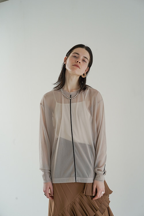COLOR LINE SHEER LONG SLEEVE TOPS