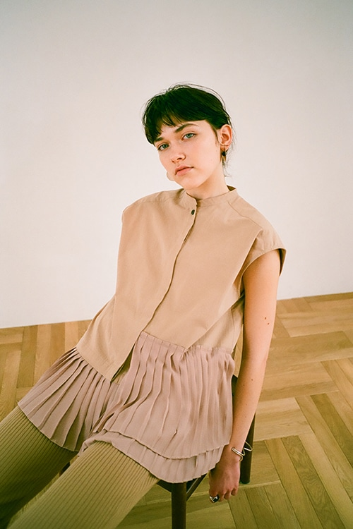 PLEAT LAYER N/S SHIRT