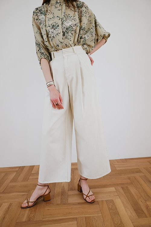 HIGH-WAIST WIDE DENIM PANTS