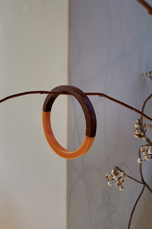 TWO COLOR WOOD BANGLE